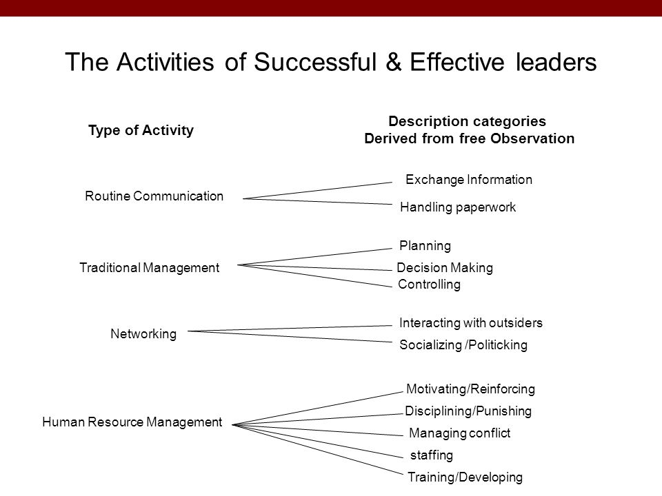 The Activities of Successful & Effective leaders