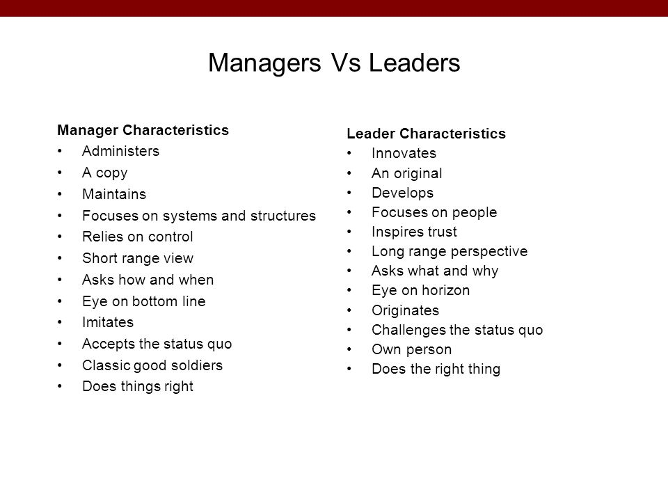Managers Vs Leaders Manager Characteristics Administers A copy