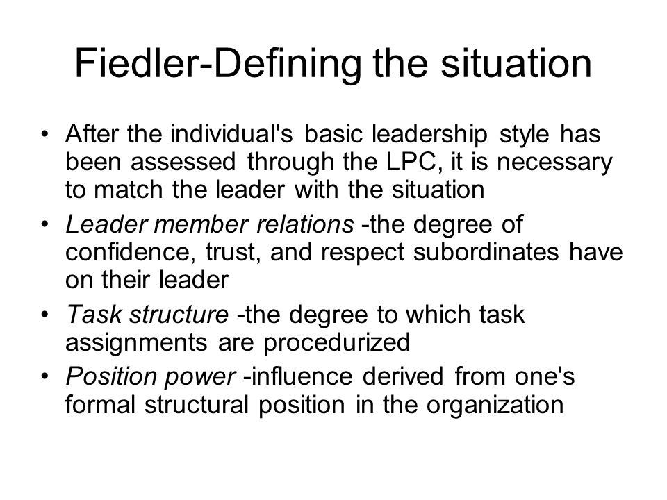 Fiedler-Defining the situation