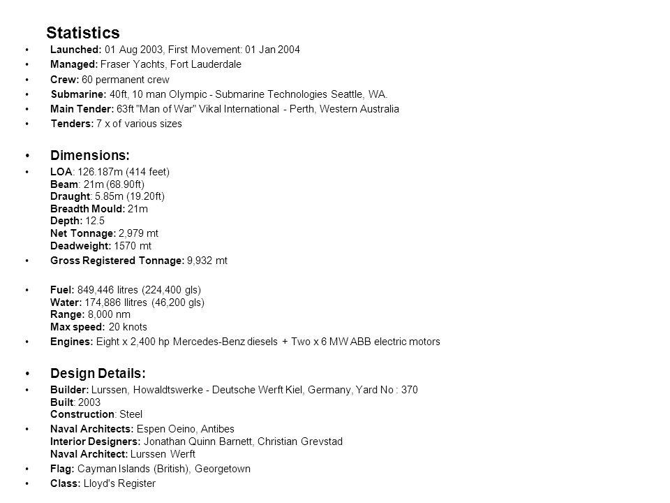 Statistics Dimensions: Design Details: