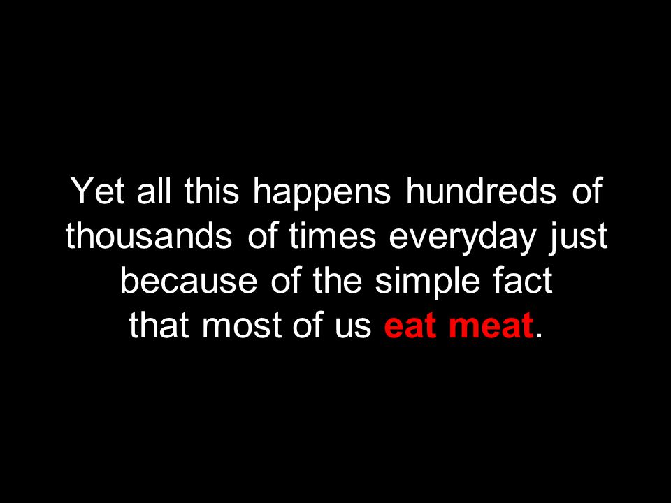 Yet all this happens hundreds of thousands of times everyday just because of the simple fact that most of us eat meat.
