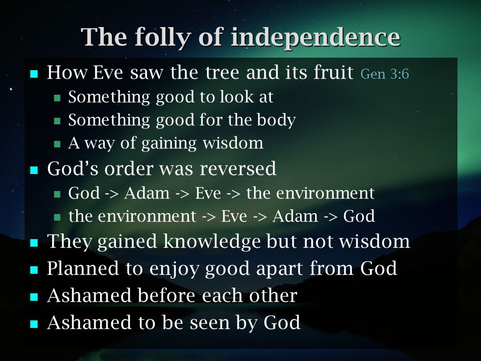 The folly of independence