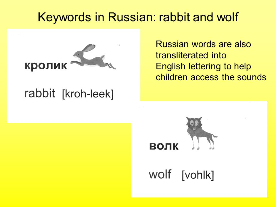 Keywords in Russian: rabbit and wolf