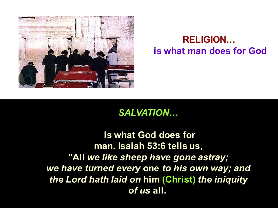 RELIGION… is what man does for God