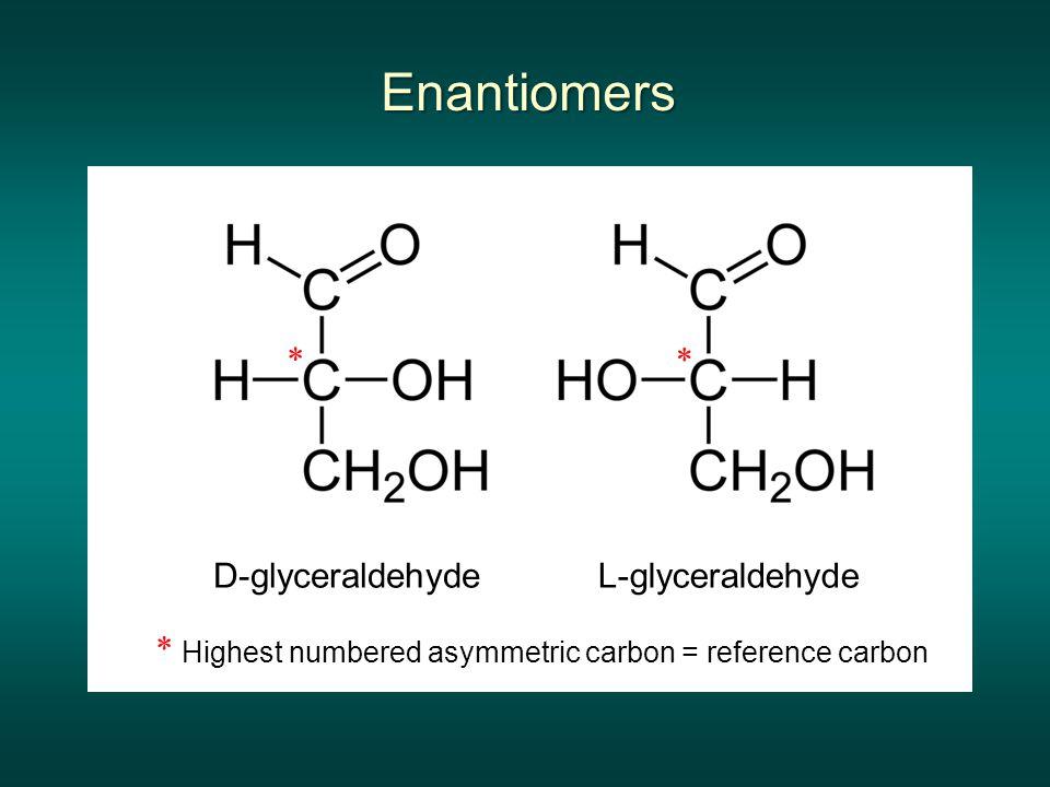 Enantiomers * * D-glyceraldehyde L-glyceraldehyde *