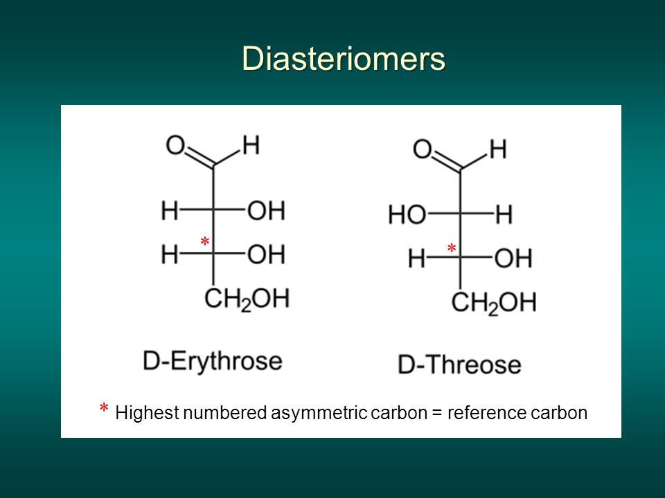 Diasteriomers * * * Highest numbered asymmetric carbon = reference carbon