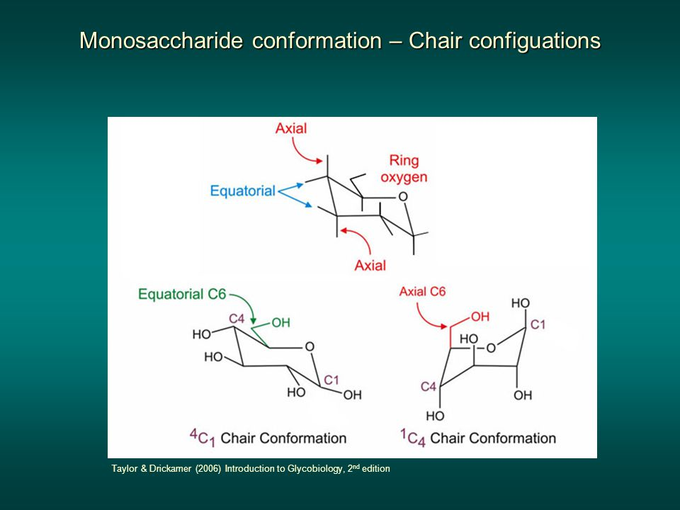 Monosaccharide conformation – Chair configuations