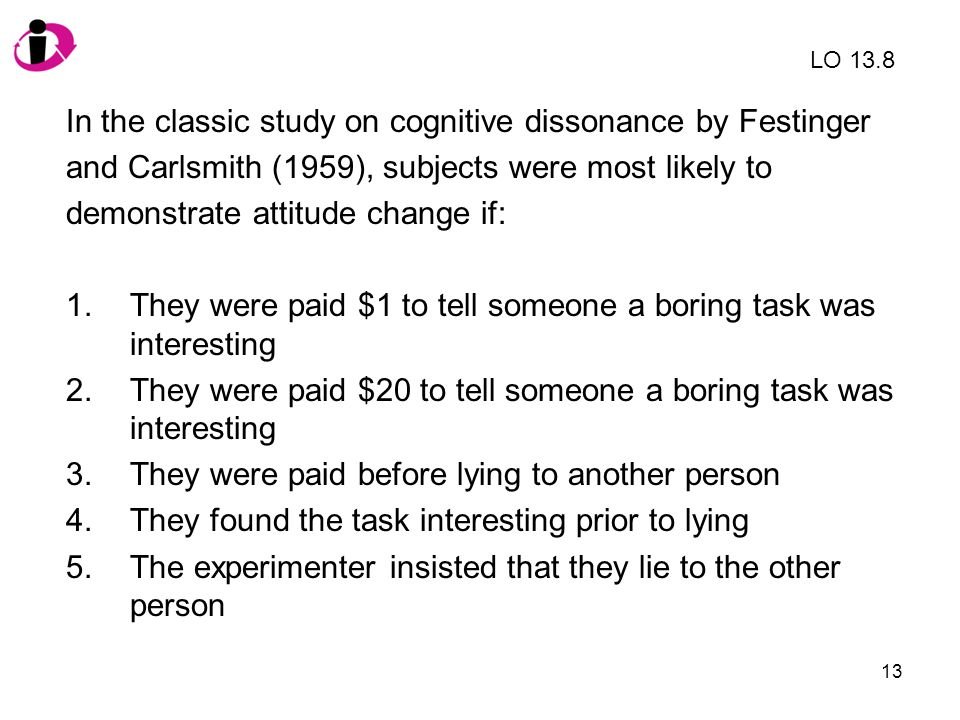 In the classic study on cognitive dissonance by Festinger