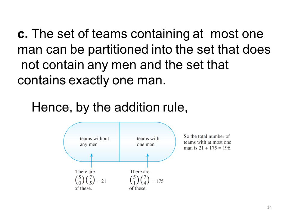 c. The set of teams containing at most one man can be partitioned into the set that does not contain any men and the set that contains exactly one man.