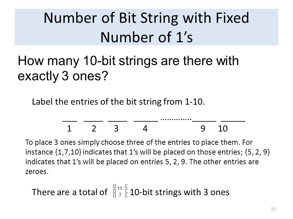 Number of Bit String with Fixed Number of 1's