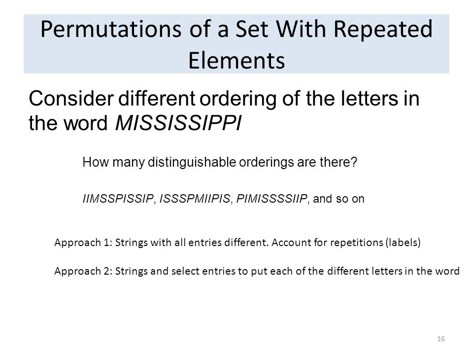 Permutations of a Set With Repeated Elements