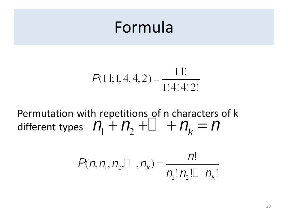 Formula Permutation with repetitions of n characters of k different types