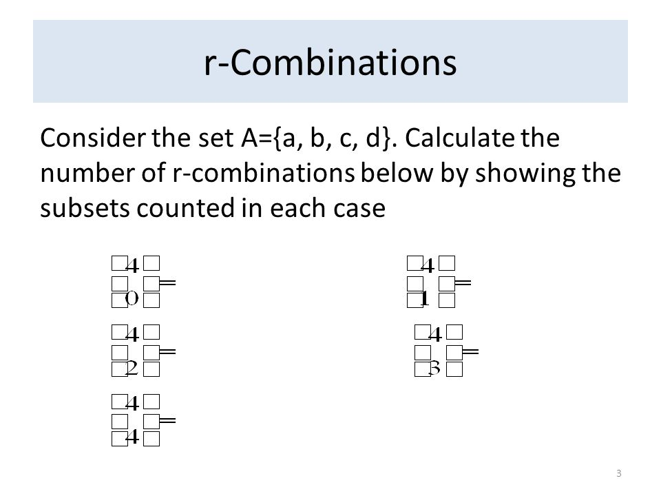 r-Combinations Consider the set A={a, b, c, d}.