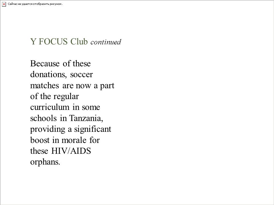 Y FOCUS Club continued
