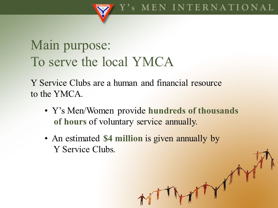 Main purpose: To serve the local YMCA