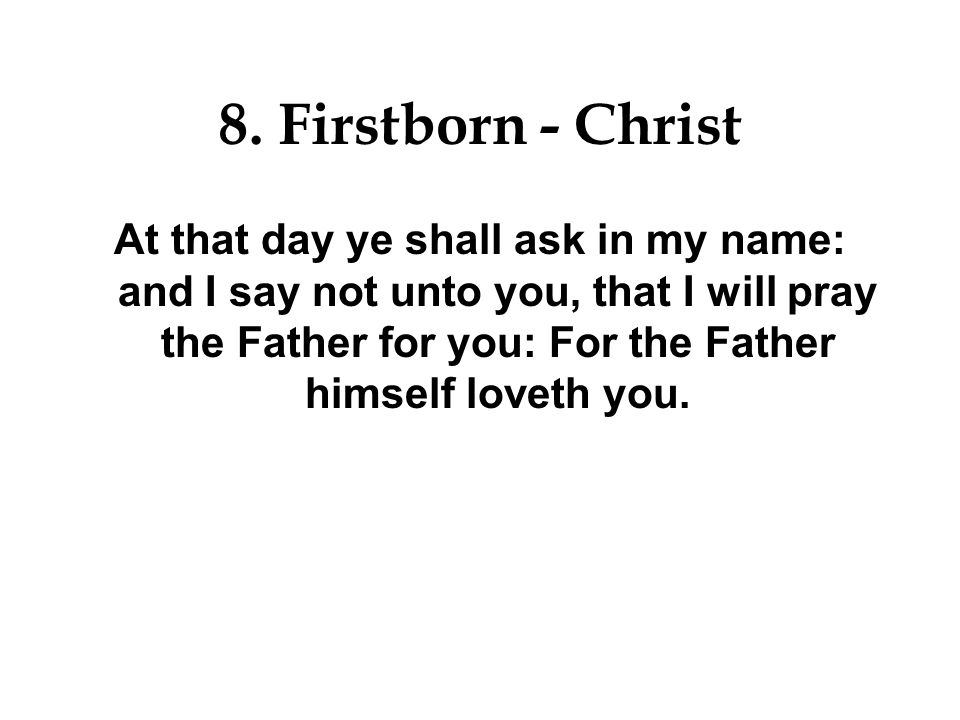 8. Firstborn - Christ