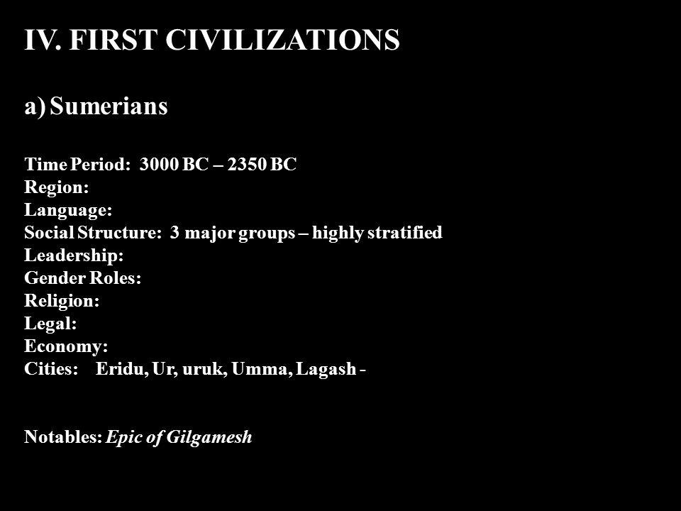 IV. FIRST CIVILIZATIONS