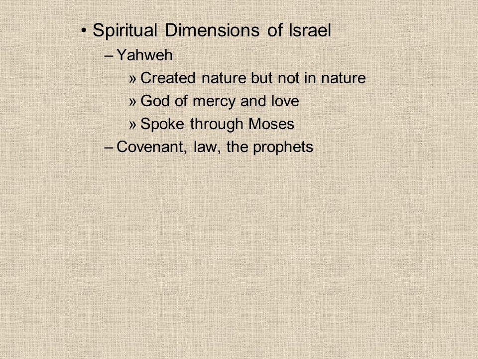 Spiritual Dimensions of Israel