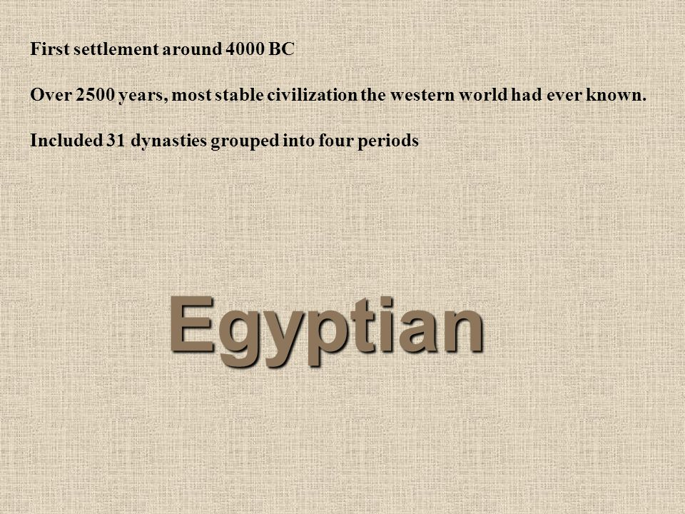 Egyptian First settlement around 4000 BC