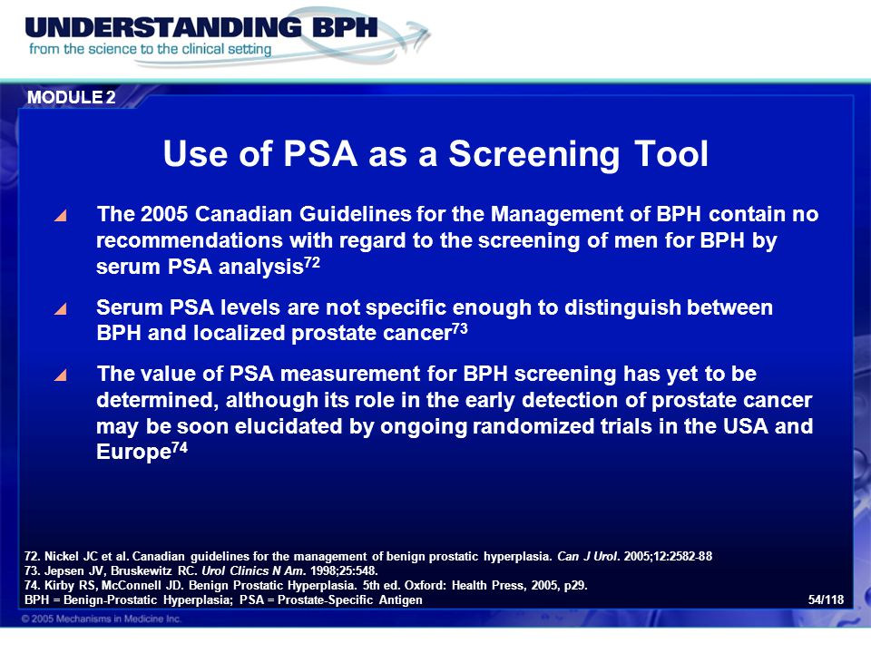 Use of PSA as a Screening Tool