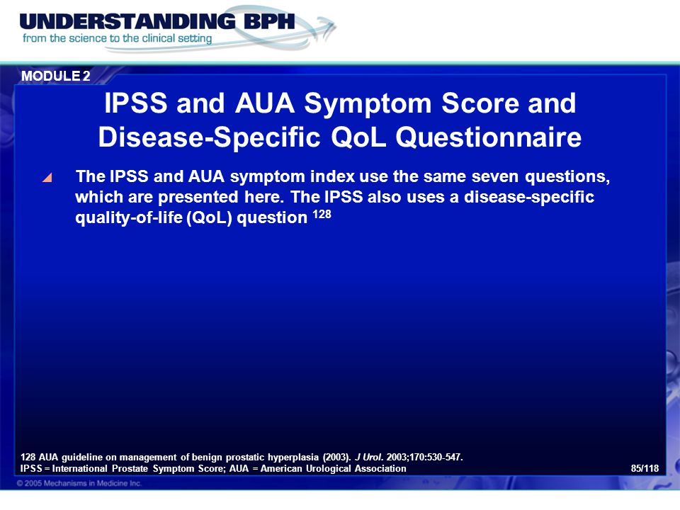 IPSS and AUA Symptom Score and Disease-Specific QoL Questionnaire