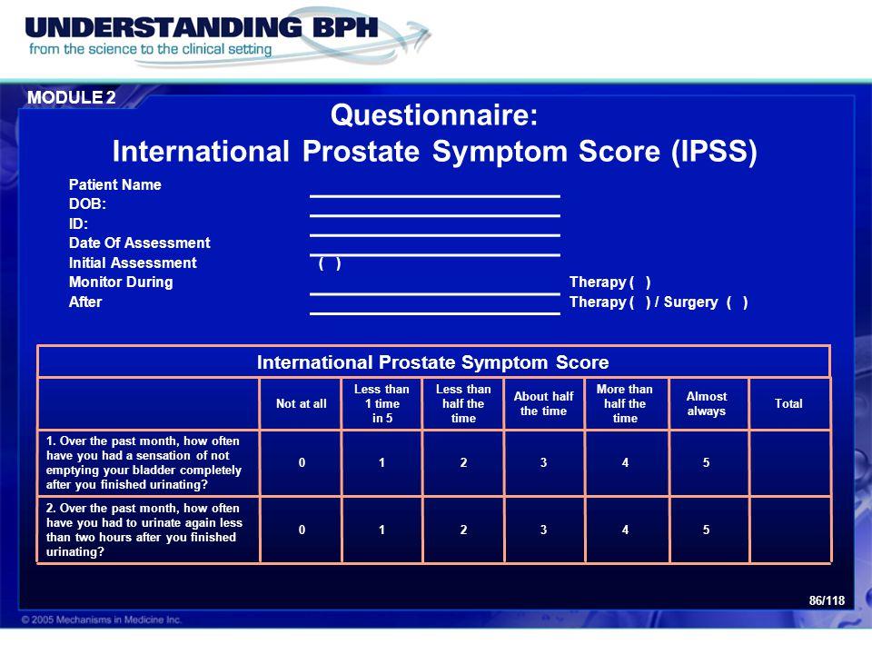 Questionnaire: International Prostate Symptom Score (IPSS)