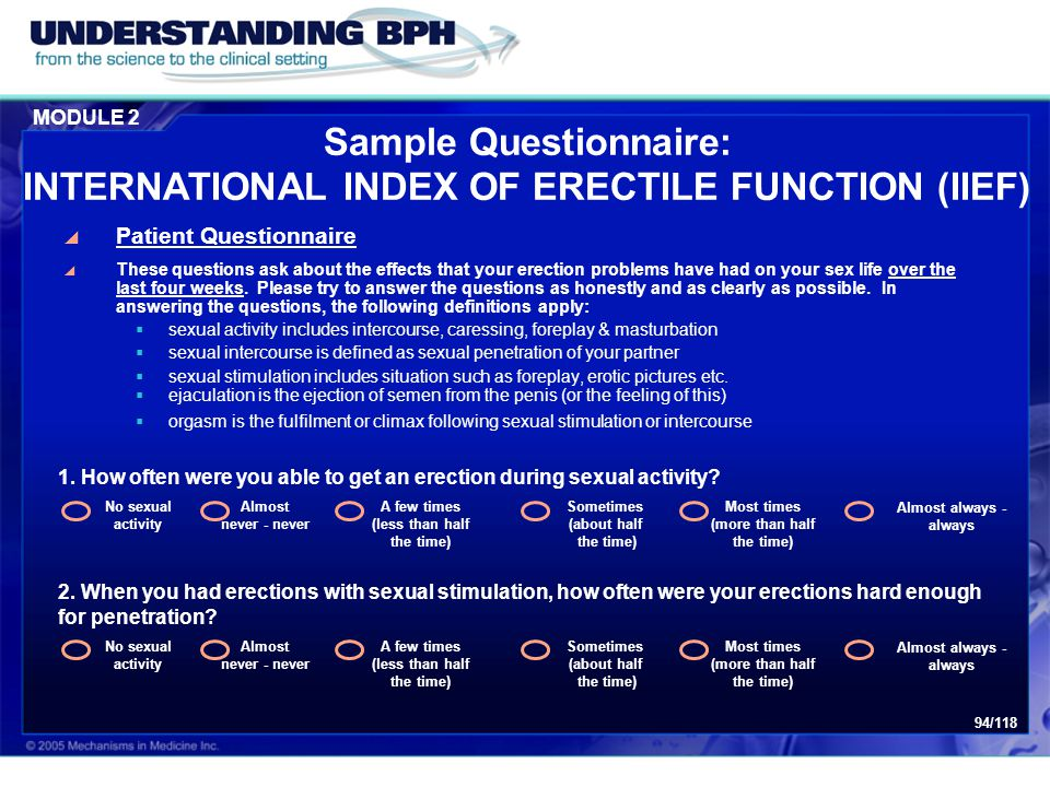 Sample Questionnaire: INTERNATIONAL INDEX OF ERECTILE FUNCTION (IIEF)
