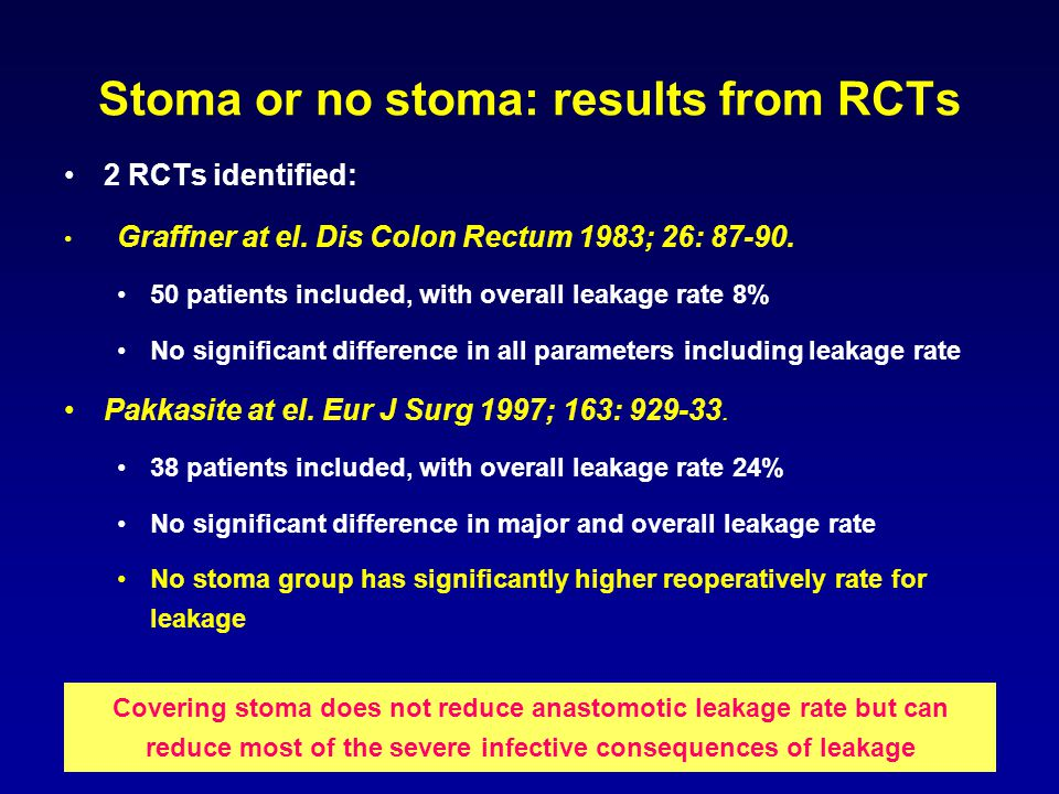 Stoma or no stoma: results from RCTs