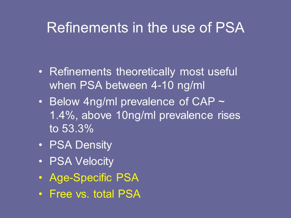 Refinements in the use of PSA