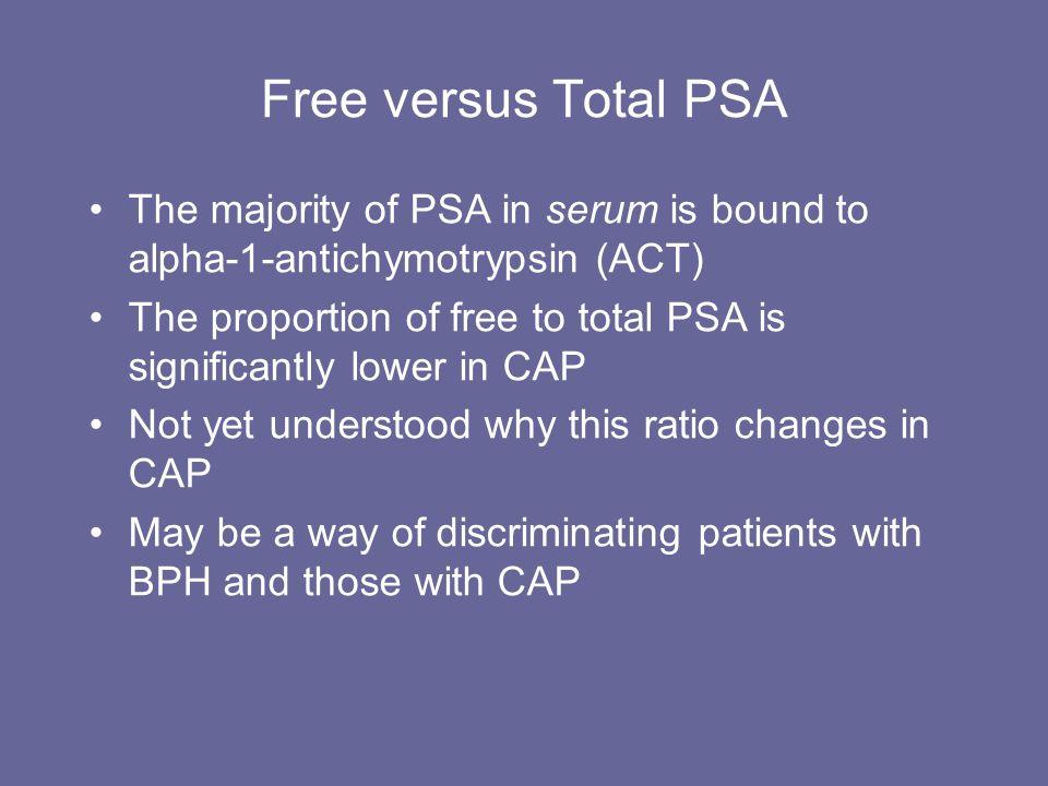 Free versus Total PSA The majority of PSA in serum is bound to alpha-1-antichymotrypsin (ACT)