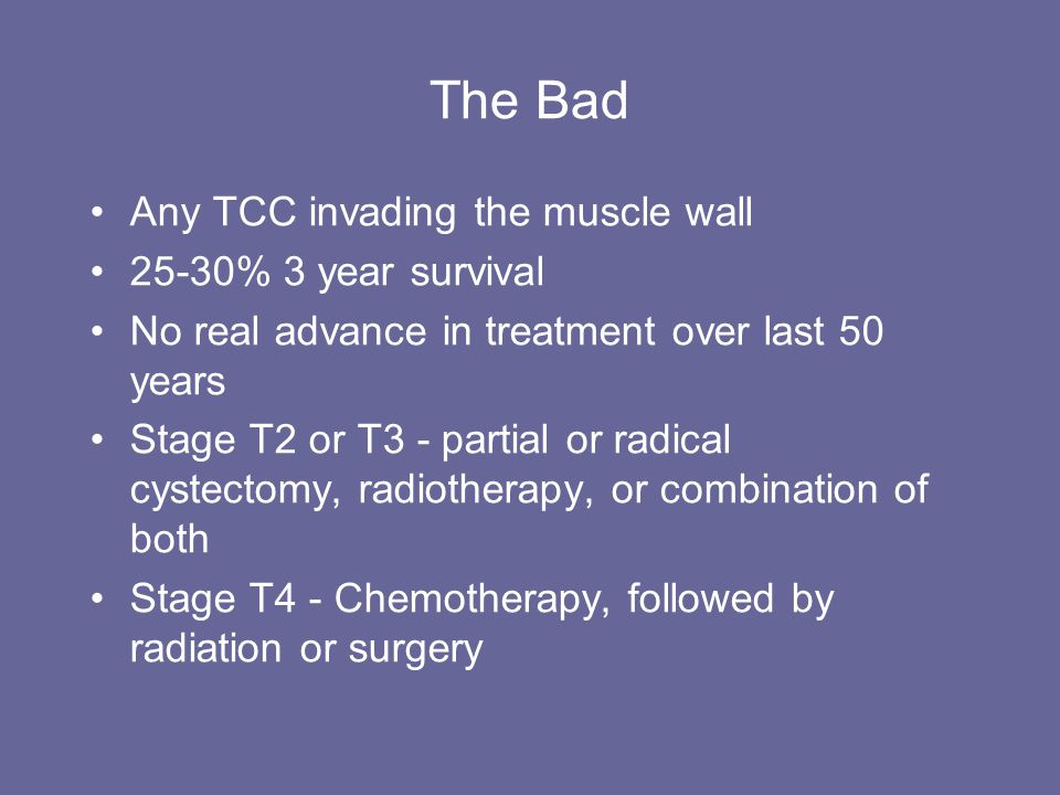 The Bad Any TCC invading the muscle wall 25-30% 3 year survival