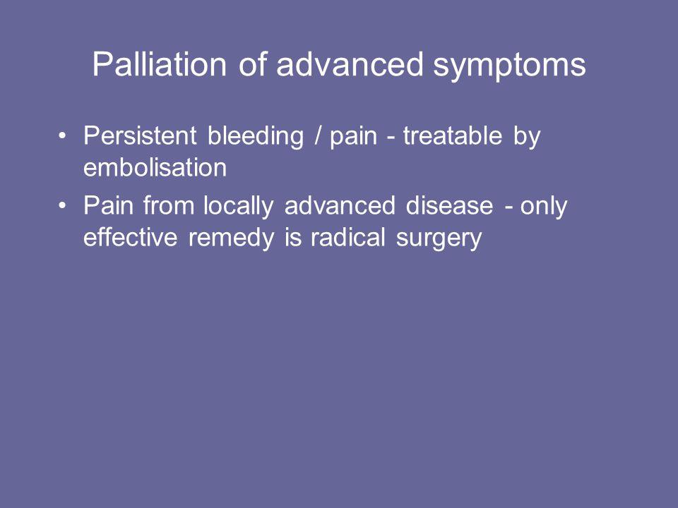 Palliation of advanced symptoms