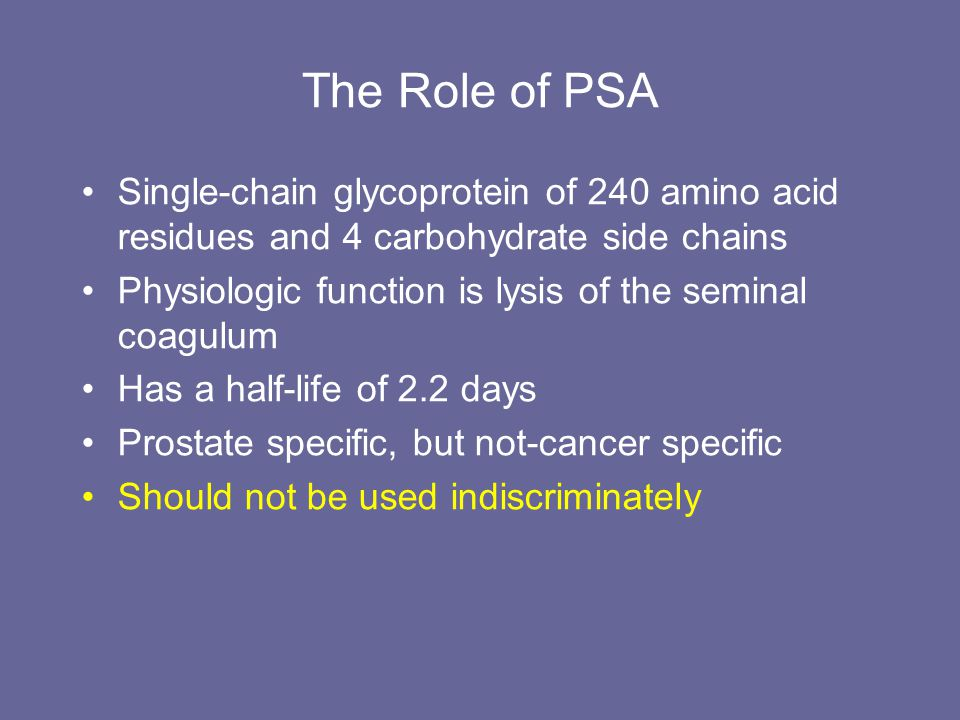 The Role of PSA Single-chain glycoprotein of 240 amino acid residues and 4 carbohydrate side chains.