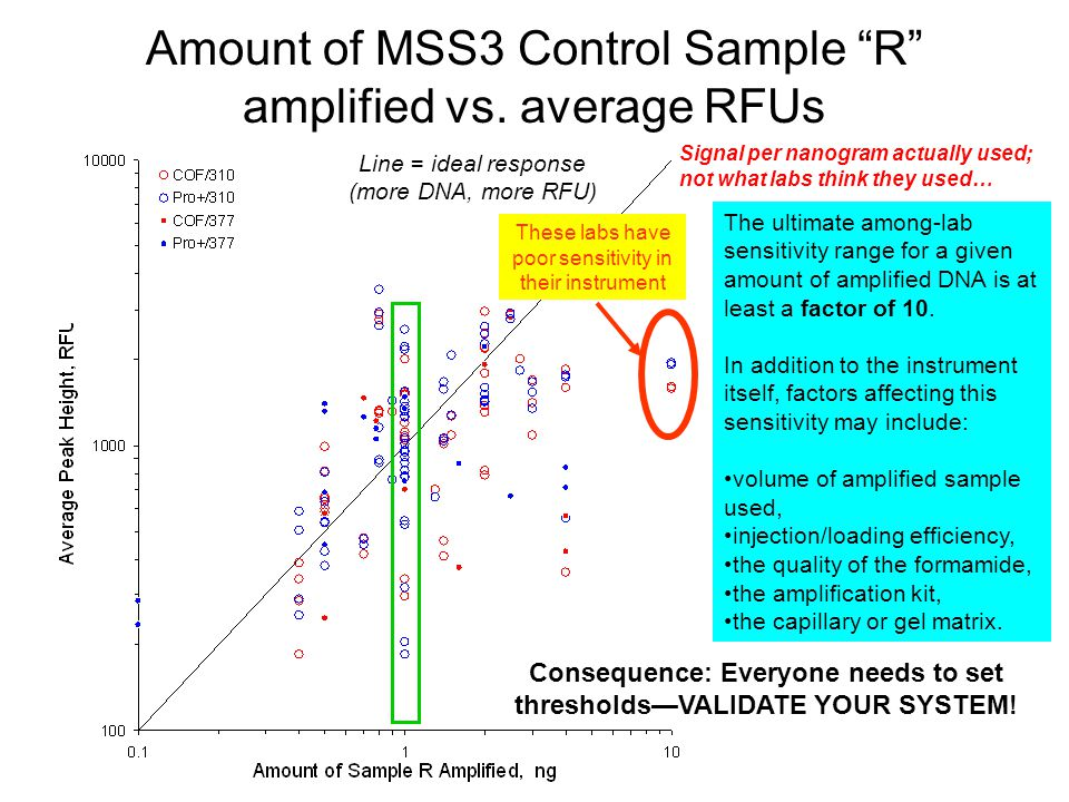 Amount of MSS3 Control Sample R amplified vs. average RFUs
