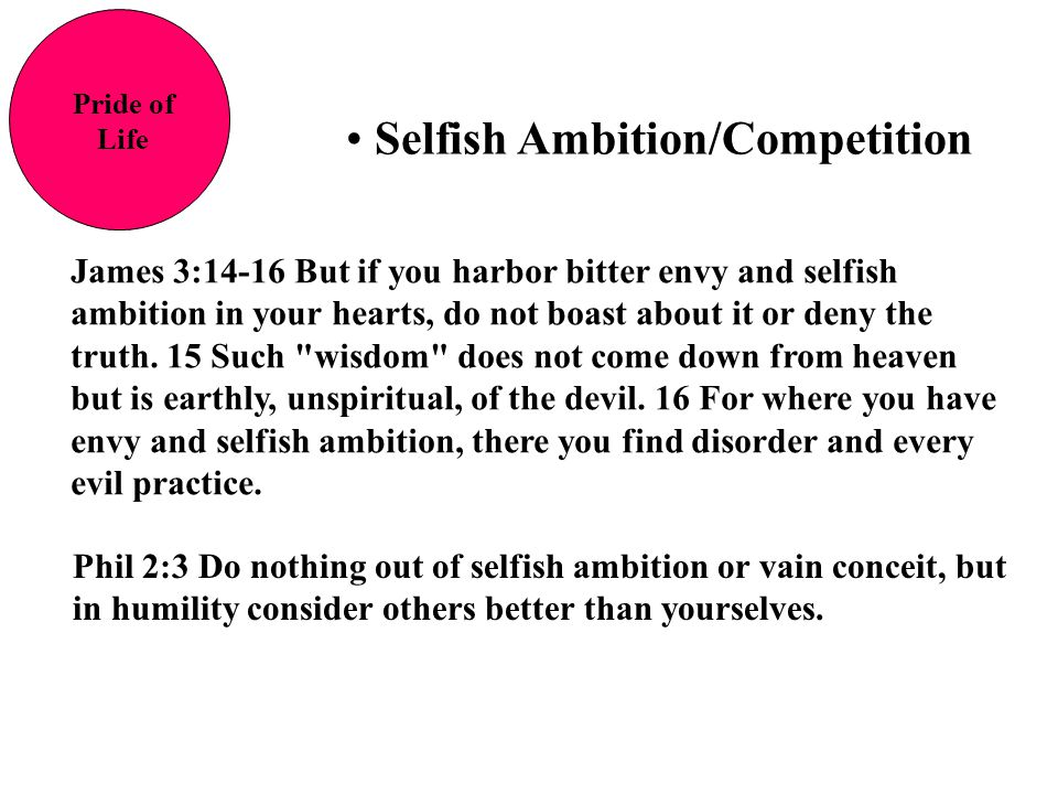 Selfish Ambition/Competition