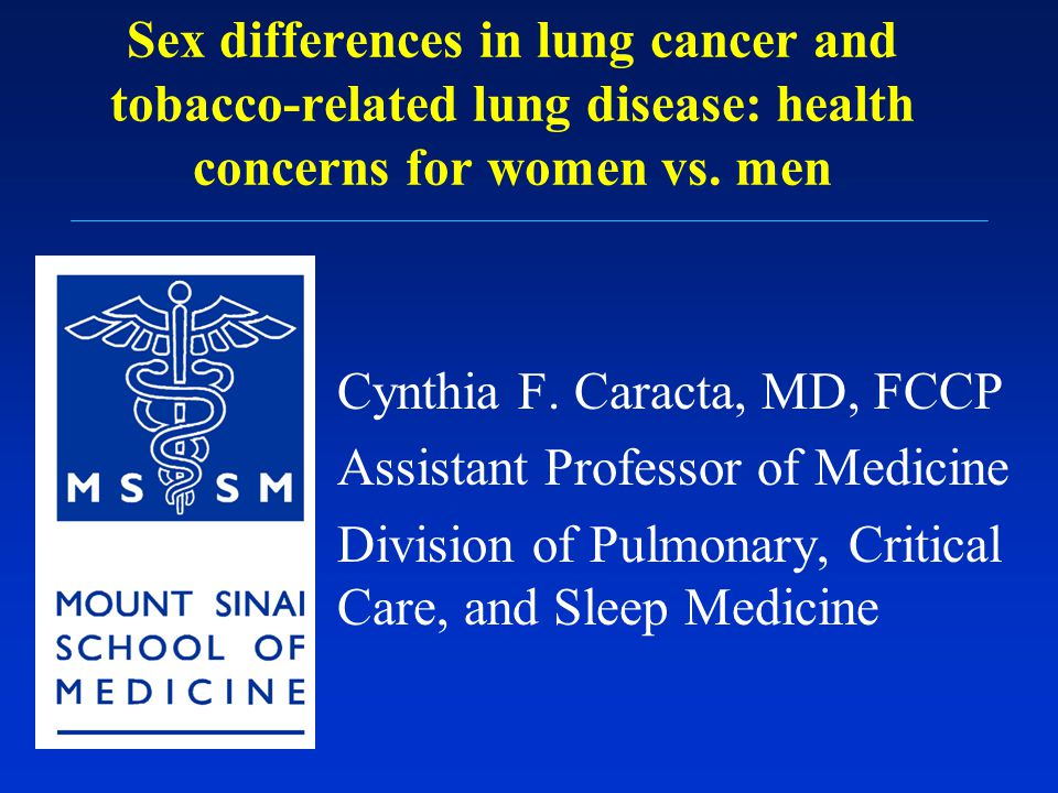 Sex differences in lung cancer and tobacco-related lung disease: health concerns for women vs. men