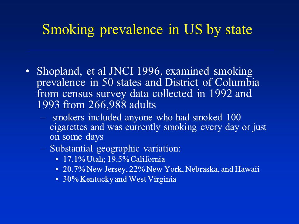 Smoking prevalence in US by state