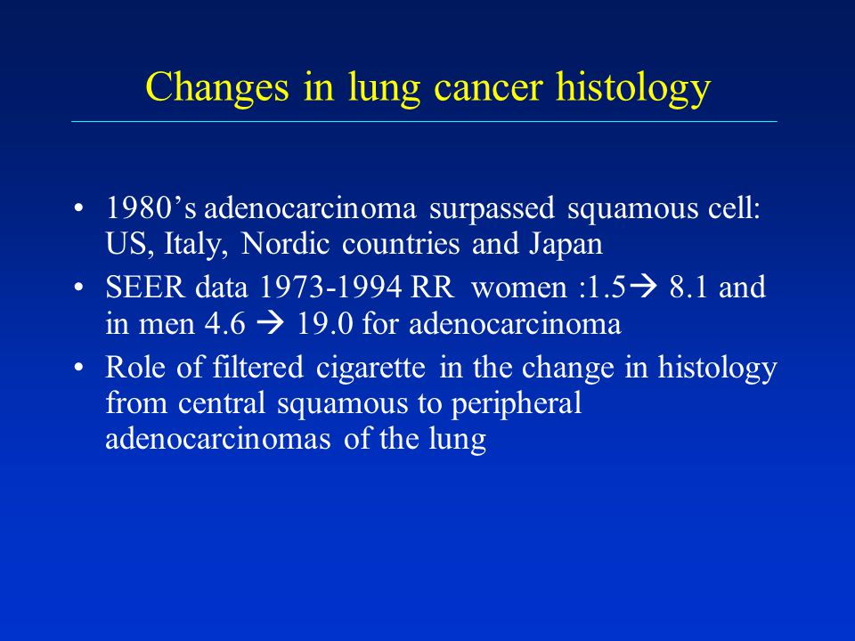 Changes in lung cancer histology