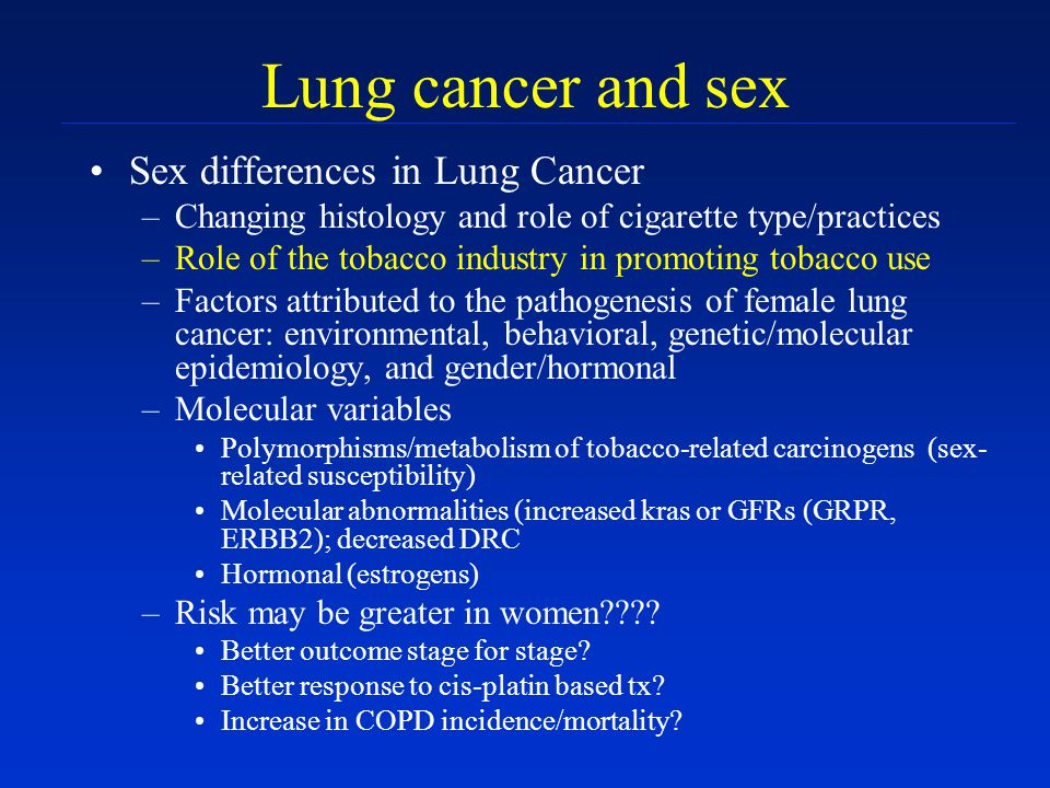 Lung cancer and sex Sex differences in Lung Cancer