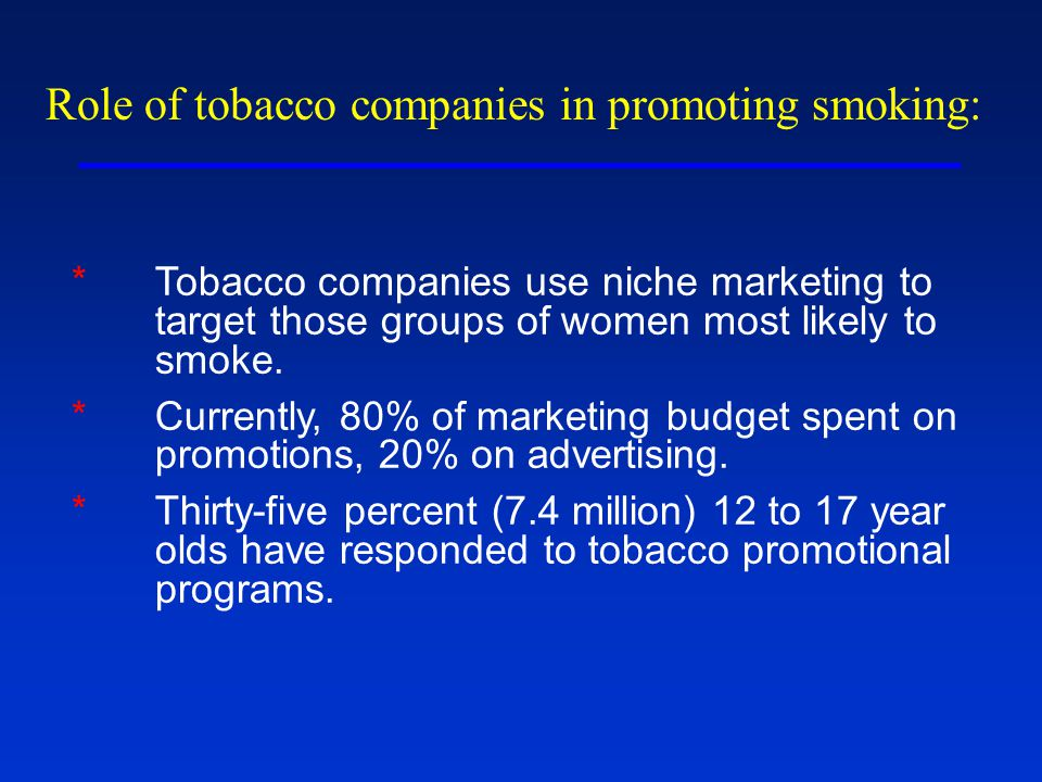 Role of tobacco companies in promoting smoking: