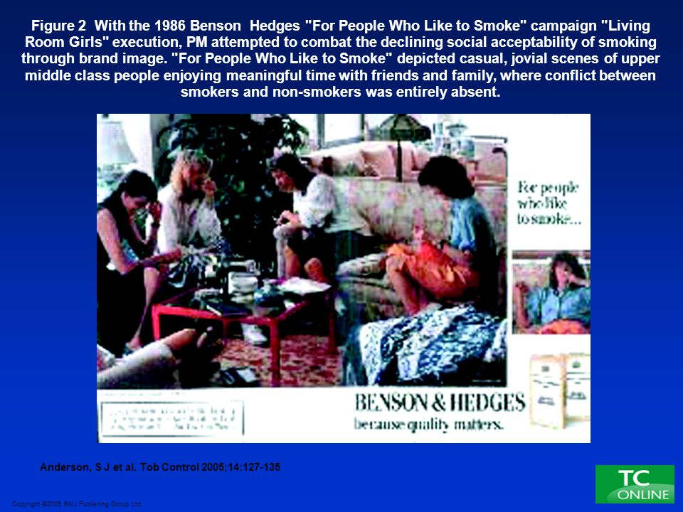 Figure 2 With the 1986 Benson Hedges For People Who Like to Smoke campaign Living Room Girls execution, PM attempted to combat the declining social acceptability of smoking through brand image. For People Who Like to Smoke depicted casual, jovial scenes of upper middle class people enjoying meaningful time with friends and family, where conflict between smokers and non-smokers was entirely absent.