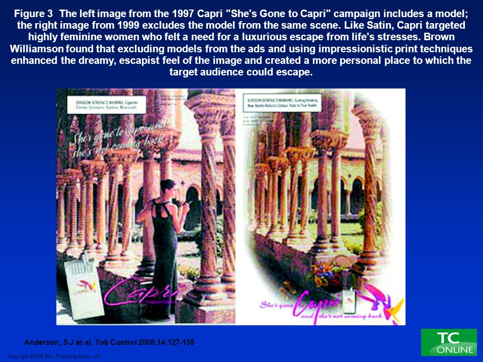 Figure 3 The left image from the 1997 Capri She s Gone to Capri campaign includes a model; the right image from 1999 excludes the model from the same scene. Like Satin, Capri targeted highly feminine women who felt a need for a luxurious escape from life s stresses. Brown Williamson found that excluding models from the ads and using impressionistic print techniques enhanced the dreamy, escapist feel of the image and created a more personal place to which the target audience could escape.