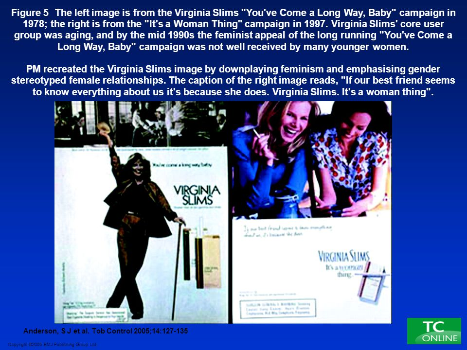 Figure 5 The left image is from the Virginia Slims You ve Come a Long Way, Baby campaign in 1978; the right is from the It s a Woman Thing campaign in 1997. Virginia Slims core user group was aging, and by the mid 1990s the feminist appeal of the long running You ve Come a Long Way, Baby campaign was not well received by many younger women.