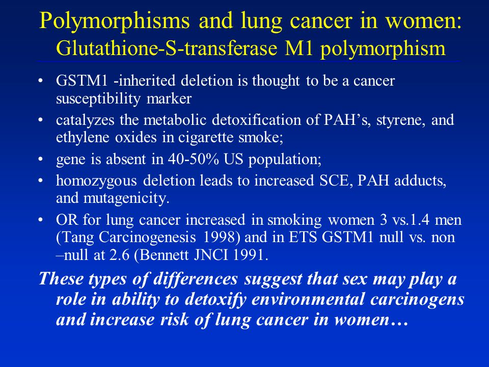Polymorphisms and lung cancer in women: Glutathione-S-transferase M1 polymorphism