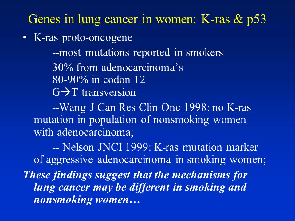Genes in lung cancer in women: K-ras & p53