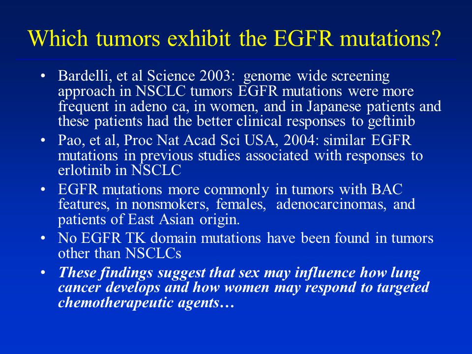 Which tumors exhibit the EGFR mutations