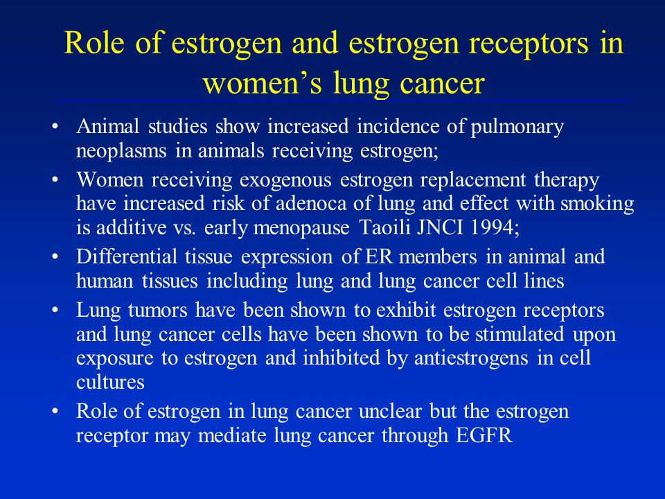 Role of estrogen and estrogen receptors in women's lung cancer