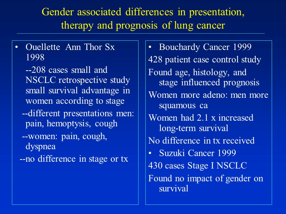 Gender associated differences in presentation, therapy and prognosis of lung cancer