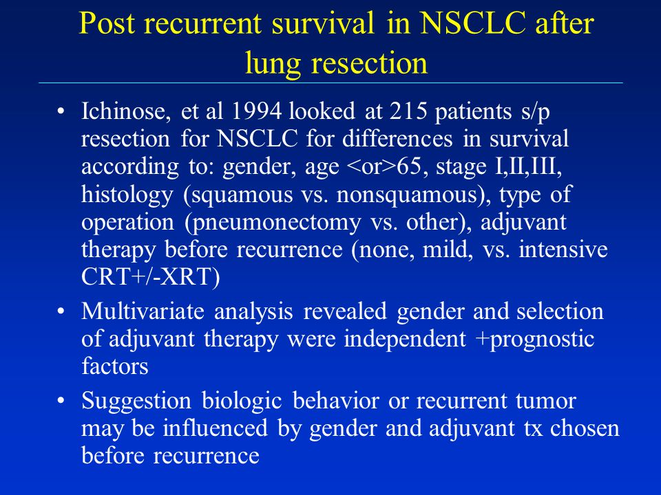 Post recurrent survival in NSCLC after lung resection