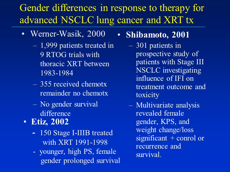 Gender differences in response to therapy for advanced NSCLC lung cancer and XRT tx